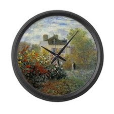 The Garden of Monet at Argenteuil Large Wall Clock