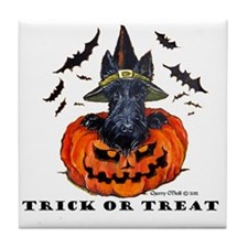 Scottie Witch Tile Coaster