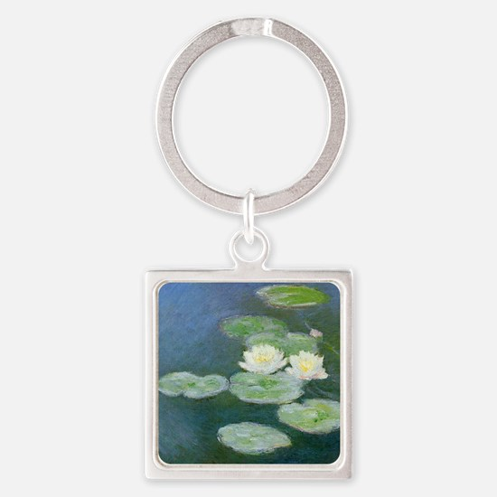 Monet Water Lilies Square Keychain