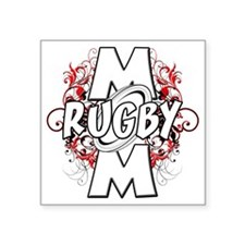 "Rugby Mom (cross) Square Sticker 3"" x 3"""