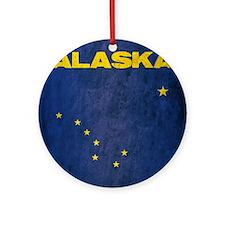 Grunge Alaska Flag Round Ornament