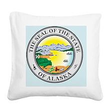 Alaska State Seal Square Canvas Pillow