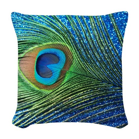 Glittery Blue Peacock Feather Woven Throw Pillow by Admin_CP14620400