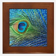 Glittery Blue Peacock Feather still li Framed Tile
