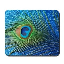 Glittery Blue Peacock Feather still life Mousepad