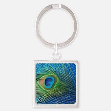 Glittery Blue Peacock Feather stil Square Keychain