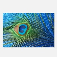 Glittery Blue Peacock Fea Postcards (Package of 8)