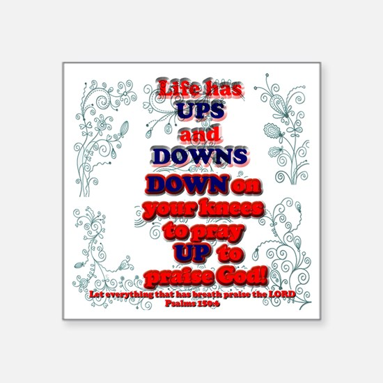 "Ups  Downs Square Sticker 3"" x 3"""