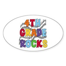 Bright Colors 4th Grade Oval Decal