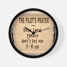 PilotsPrayerFuoLuggHandleWrap Wall Clock