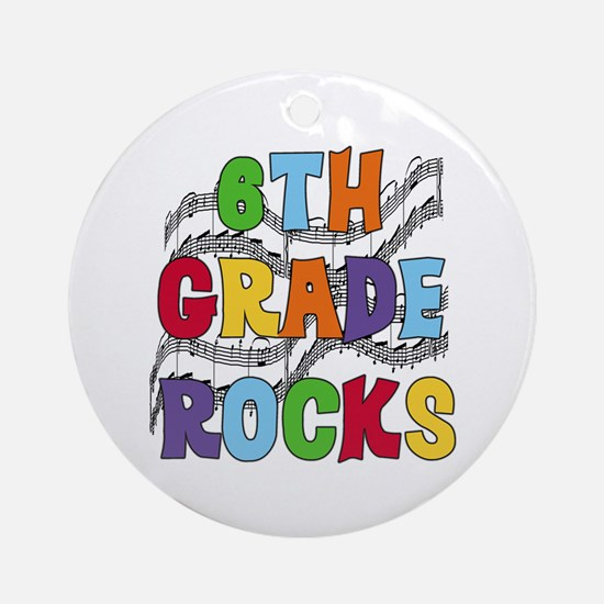 Bright Colors 6th Grade Ornament (Round)