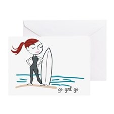 Surfer Girl - Red Greeting Card