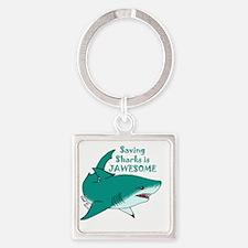 Saving Sharks Square Keychain