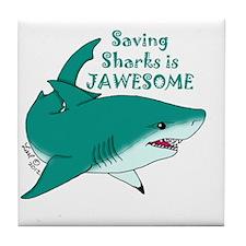 Saving Sharks Tile Coaster