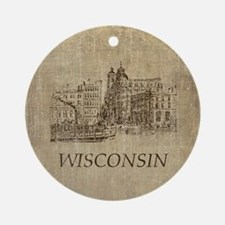 Vintage Wisconsin Round Ornament