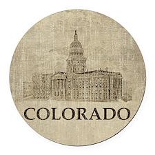 Vintage Colorado Round Car Magnet