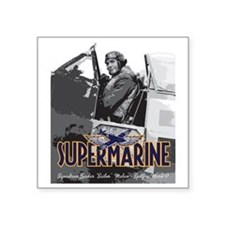 "Supermarine Spitfire Pilot  Square Sticker 3"" x 3"""