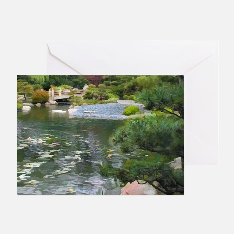 Japanese Garden View to a Bridge Greeting Card