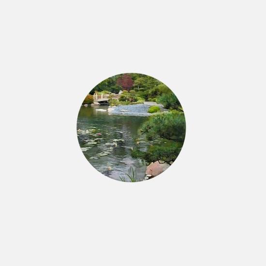 Japanese Garden View to a Bridge Mini Button