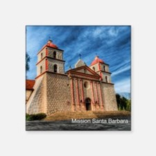 "Mission Santa Barbara Square Sticker 3"" x 3"""