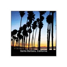 "Sunset in Santa Barbara Square Sticker 3"" x 3"""