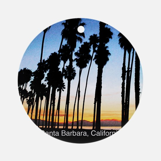 Sunset in Santa Barbara Round Ornament