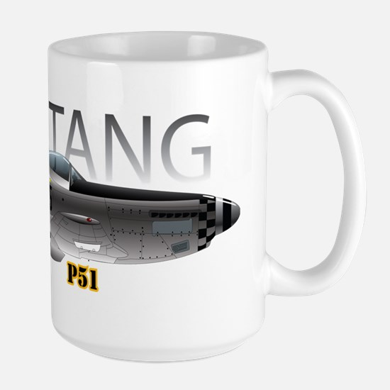 Mustang P-51 drawing on Large Mug