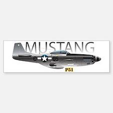 Mustang P-51 drawing on Bumper Bumper Sticker
