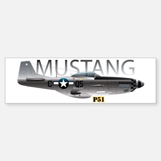 Mustang P-51 drawing on Sticker (Bumper)