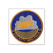 "uss kitty hawk cv patch tra Square Sticker 3"" x 3"""