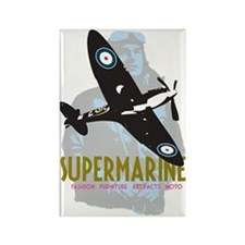 Supermarine Spitfire and Pilot on Rectangle Magnet