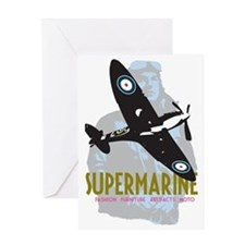 Supermarine Spitfire and Pilot on Greeting Card