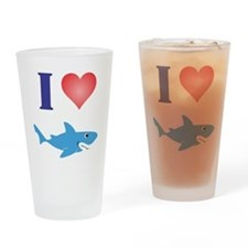 I Love Great Whites Drinking Glass
