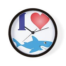 I Love Great Whites Wall Clock
