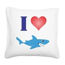 I Love Great Whites Square Canvas Pillow