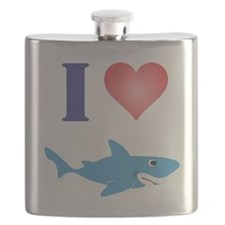 I Love Great Whites Flask