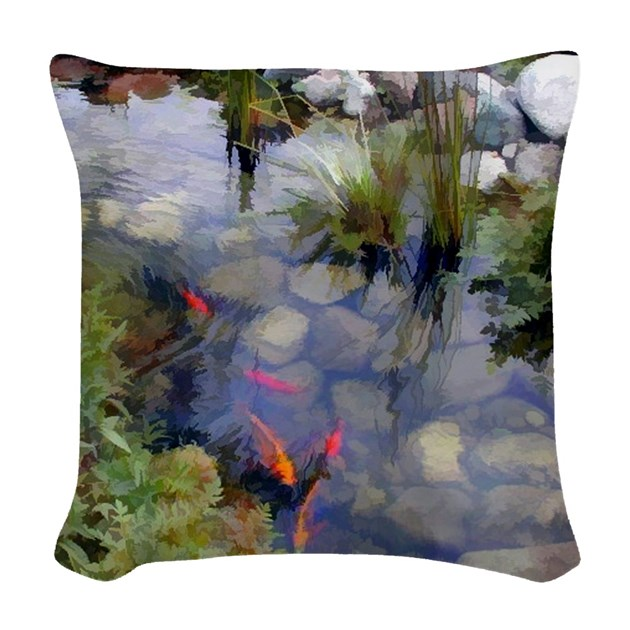 Koi pond copy woven throw pillow by admin cp51336015 for Koi pond color
