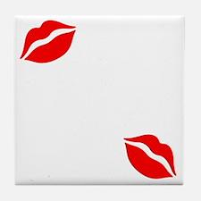 Kiss The Chef white Tile Coaster
