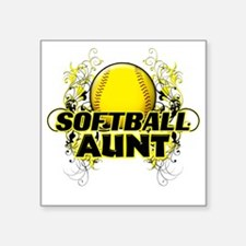 "Softball Aunt (cross) Square Sticker 3"" x 3"""