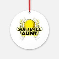 Softball Aunt (cross) Round Ornament