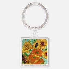 Van Gogh twelve sunflowers Square Keychain
