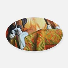 Allergic to Morning Oval Car Magnet