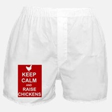 Keep Calm and Raise Chickens (Red) Boxer Shorts