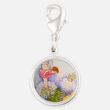 Dandelion Wishing Fairy Silver Round Charm