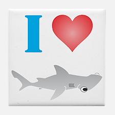 I Love Hammerhead Sharks Tile Coaster