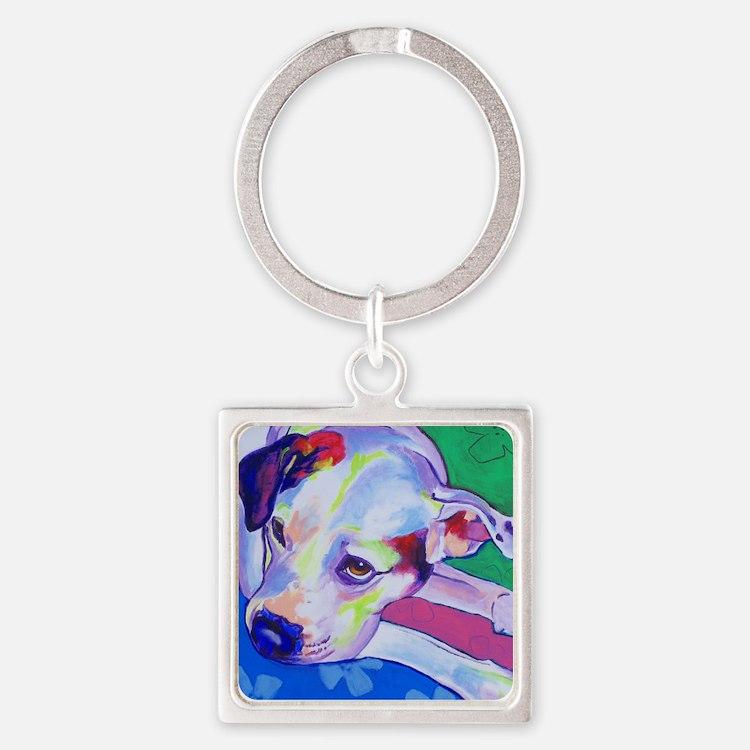 American Bulldog #1 Square Keychain