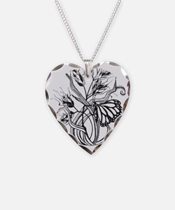 Monarch Butterfly Necklace Heart Charm