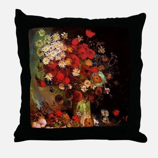 Van Gogh Flowers Throw Pillow