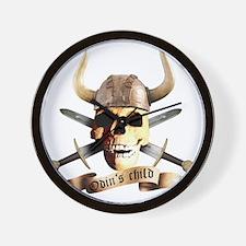 skull helmet axe, odins child Wall Clock