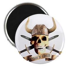 skull helmet axe, odins child Magnet